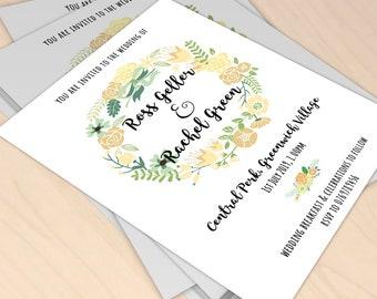 Wedding Invitation - Green/White- Digital Download