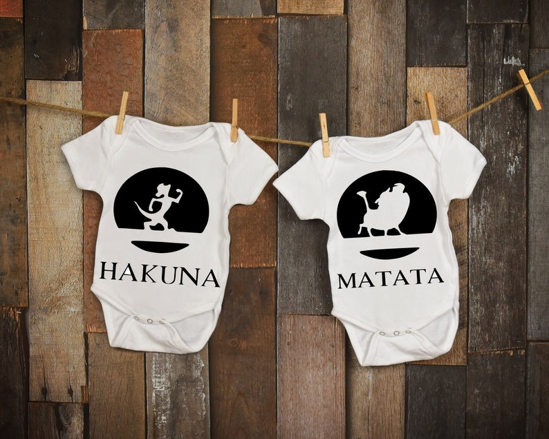 890b81d91 Lion King Hakuna Matata Twin Baby Onesies / Disney Twins | Etsy