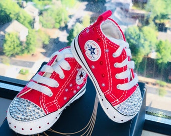 Red embellished infants  Chuck Taylors