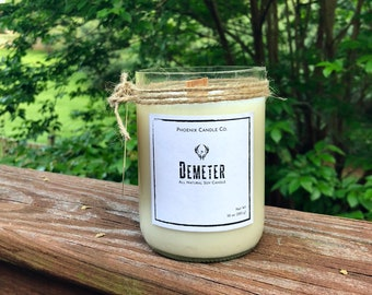 Demeter, Cranberry, pine, musk scent; All natural wood wick soy candle, eco friendly, recycled bottle
