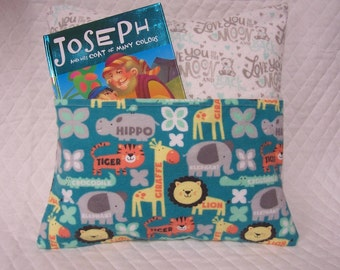 Zoo Animals Reading Book Pillow 14X14