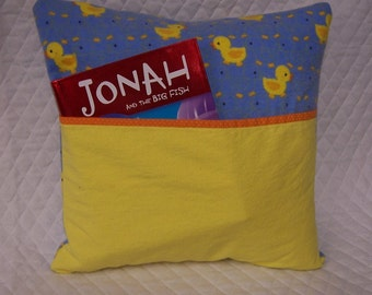 Chick Reading Book Pillow 14X14