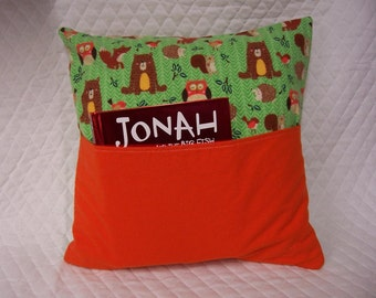 Woodland Ctritters Reading Book Pillow 14X14