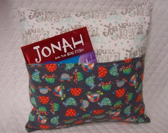 Turtle Reading Book Pillow 14X14