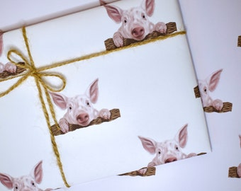 Pig Wrapping Paper, Pig Gift Wrap, Cute Pig, Cute Wrapping Paper, Cute Gift Wrap, Recyclable Wrapping Paper, Piglet Gift, Pig Lover, Pigs