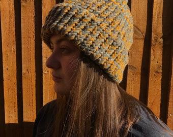 933c7694101c1 Hand knitted oversized beanie mustard   grey