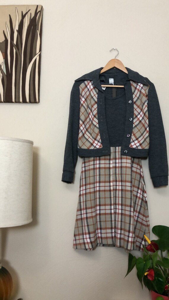 1970s grey and orange plaid wool and knit two piec