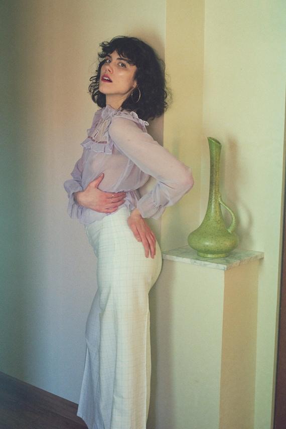 AMAZING 1970s Wide Leg Pastel Checked Pants | Pal… - image 7