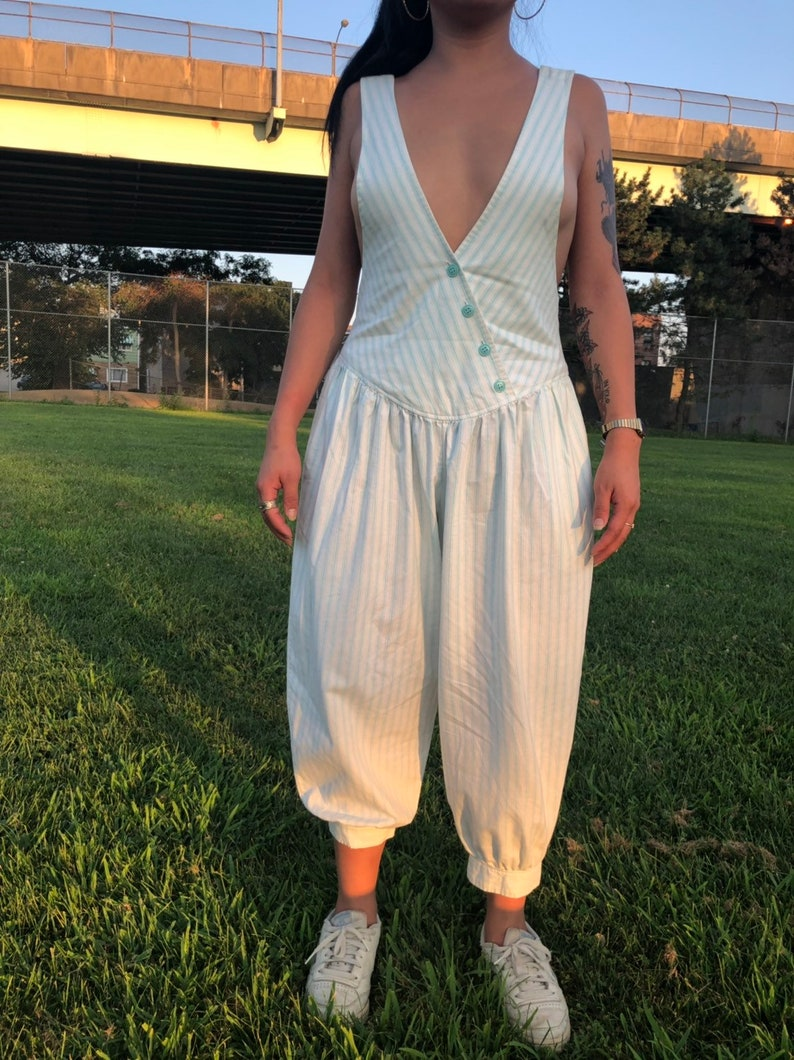 1980s jumpsuit with balloon pants seafoam green stripes overalls cropped