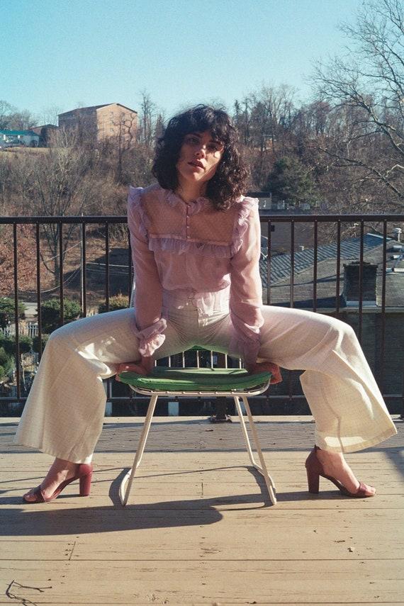 AMAZING 1970s Wide Leg Pastel Checked Pants | Pal… - image 1