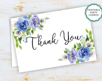 floral blue thank you card bridal shower thank you card baby shower baptism thank you card printable thank you notes postcard