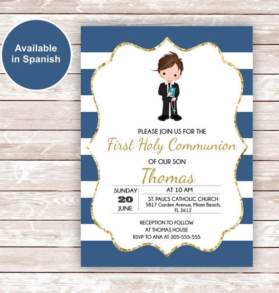 First Holy Communion Invitation Boy Printable First Holy Communion