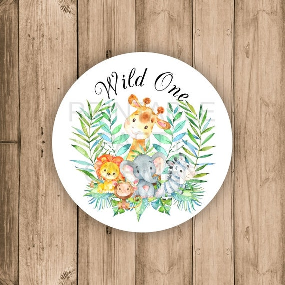 GIRLY WILD and THREE Zoo Animal Theme Party Happy Birthday Baby Shower Favor Tags or Stickers 12 {One Dozen} Party Packs Available