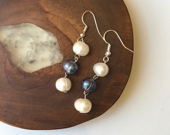 White & Grey Pearls Dangle Earrings // Fresh Water Pearls // Silver Color