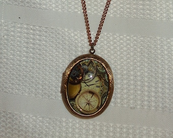 Opening Oval Art Bubble Glitter Cabochon Photo Locket Antique Brass Bronze Steampunk Clock Compass Gears Time Handmade Women/'s Necklace Punk