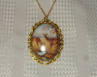 Vintage Ornate Antique Silver Pendant Skeleton Goddess Cameo Necklace White on Turquoise Blue