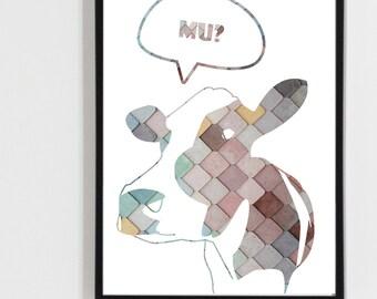Digital Printable art , Digital print cow 00