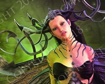 Queen of the Fae, Fantasy Art Print, Mystical Wall Art, Dark Fantasy Art, Fairie Artwork, Dungeons & Dragons, Giclee Print, Dark Fae Art