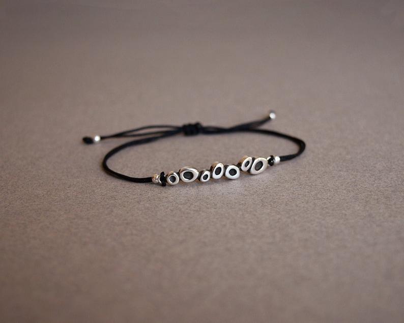 adjustable cord Geometric circles charm silver bracelet Charm ...