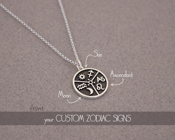 Personalized Zodiac Necklace With Your Sun Moon Ascendant Etsy