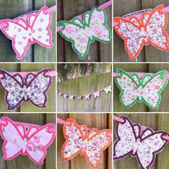 WHITE LACE PAPER WEDDING BUNTING Vintage Butterfly Floral Bunting Banner Garland
