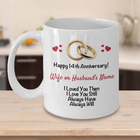 Personalized 14th Anniversary Gift Ideas Wife Husband Customized 14 Years Wedding Anniversary Him Her Gift Name Coffee Mug