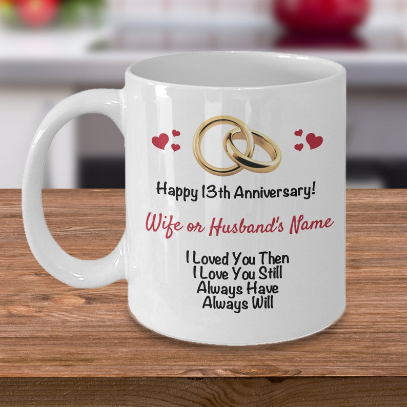 Personalized 13th Anniversary Gift Ideas Wife Husband Customized 13 Years Wedding Anniversary Him Her Gift Name Coffee Mug