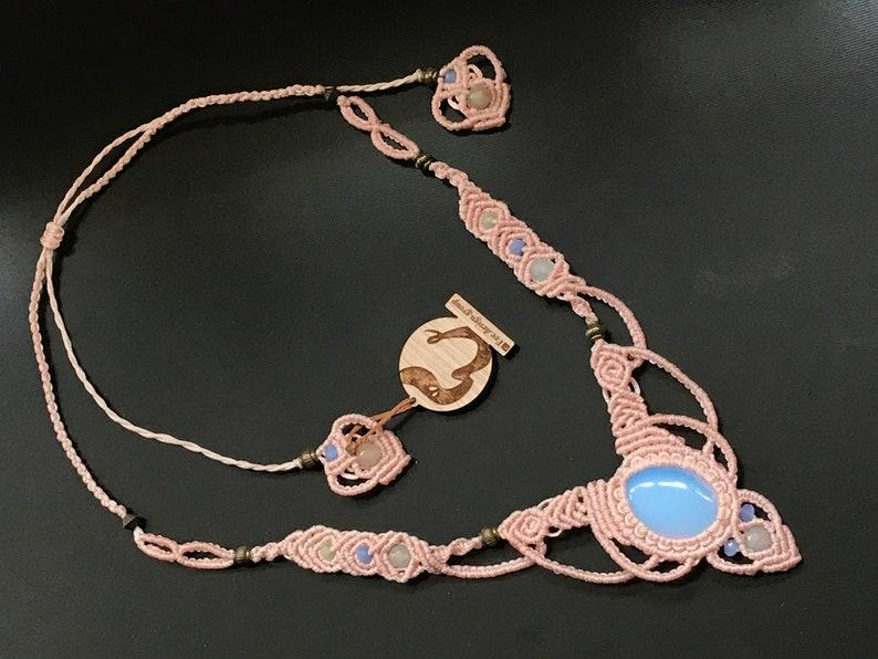 Opal macrame necklace