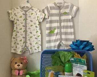Baby Boy Shower Basket - Little Dino
