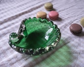 Vintage Murano Glass Dish, Vintage Green Glass Bowl Small, Unusual Glass Dish