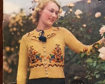 PDF knitting pattern 1930s Bavarian / Tyrolean / folk cardigan