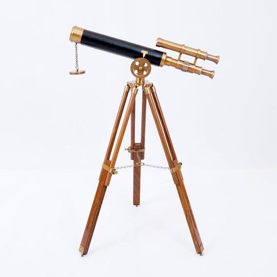 Double Barrel Brass Telescope Long View Marine Navy Nautical w Tripod Stand