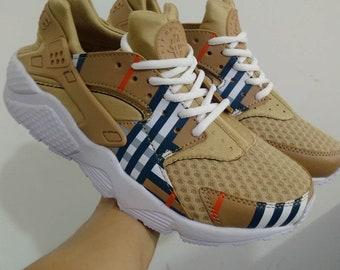 b47fa6f81885d6 high quality customade huarache nike air x burberry men and women full  print design fashion sport shoes