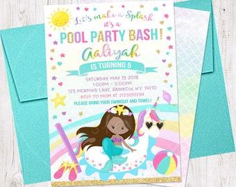 Unicorn Pool Party Birthday Invitation Printable Unicorn Pool Etsy