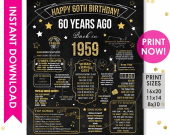 60th Birthday INSTANT DOWNLOAD Poster 1959 Sign Gift For Women Men Party Decorations PRINTABLE Chalkboard Board Facts Ideas
