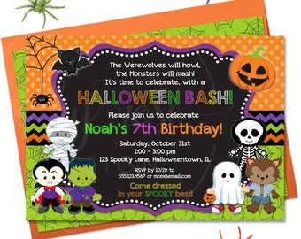 Halloween Birthday Invitation Kids Boy PRINTABLE Digital Invite For Costume Party Theme Spooky Chalkboard 1st