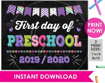 photograph relating to First Day of Preschool Free Printable named 1st working day of preschool Etsy