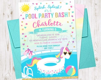 Unicorn Pool Party Invitation PRINTABLE Birthday Invite Supplies Girl Summer Beach Bash