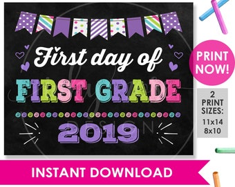 photograph regarding First Day of 1st Grade Printable named Initially quality indication Etsy