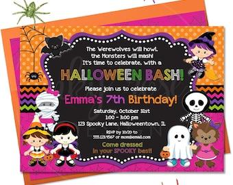 Halloween Birthday Invitation Kids Boy PRINTABLE Digital
