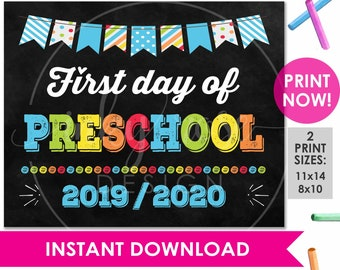 image about First Day of Preschool Sign Printable identify Preschool signal Etsy
