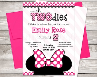 Oh Twodles Invitation Girl Minnie Mouse 2nd Birthday PRINTABLE Party Pink Digital Electronic Invite Two 2