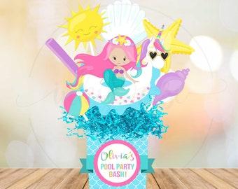 Unicorn Mermaid Pool Party Centerpiece PRINTABLE Decorations Birthday Supplies Printables Float Rainbow Girl