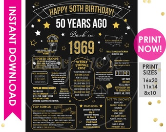 50th Birthday INSTANT DOWNLOAD Poster 1969 Sign Gift For Women Men Party Decorations PRINTABLE Chalkboard Board Facts Ideas
