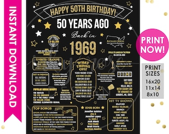50th Birthday INSTANT DOWNLOAD Poster 1969 Sign 50th Birthday Gift for Women Men Party Decorations PRINTABLE Chalkboard Board Facts ideas  sc 1 st  Etsy & 50th birthday gift | Etsy
