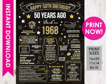 50th Birthday INSTANT DOWNLOAD Poster 1968 Sign Gift For Women Men Party Decorations PRINTABLE Chalkboard Board Facts Ideas