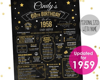 60th Birthday Party Decorations PRINTABLE Sign Gift For Women Men 1959 Poster Chalkboard Board Facts Ideas Decor
