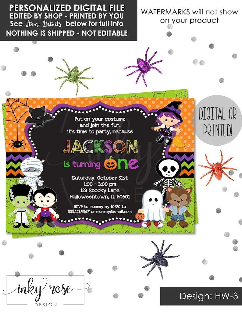 Halloween 1st Birthday Invitation PRINTABLE Digital Invite Or