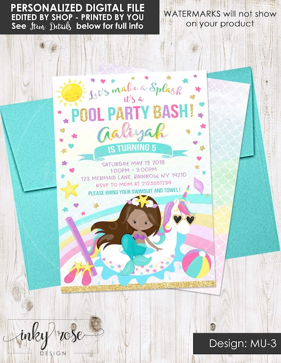 Unicorn And Mermaid Pool Party Invitation PRINTABLE African American Birthday Invite Rainbow Girl