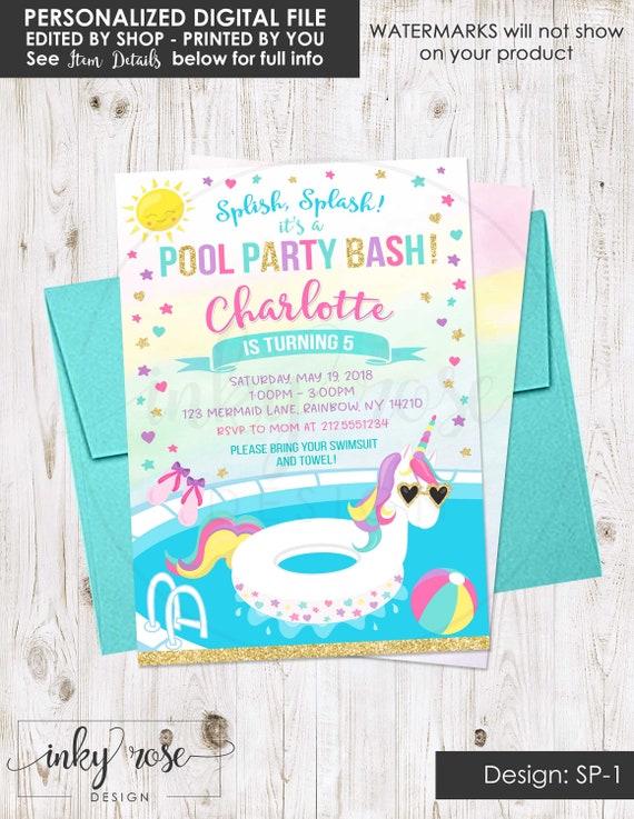 Unicorn Pool Party Invitation PRINTABLE Birthday Invite Supplies Girl Summer Beach Bash